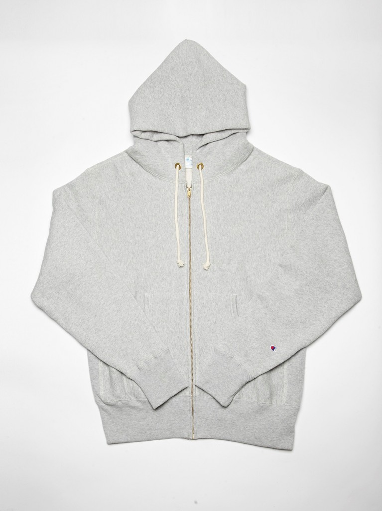 GREY REVERSE WEAVE ZIP UP HOODY
