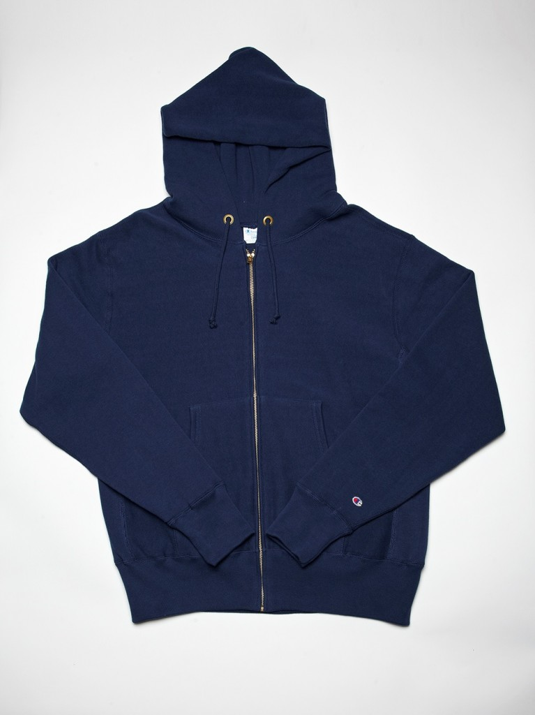 NAVY BLUE REVERSE WEAVE ZIP UP HOODY