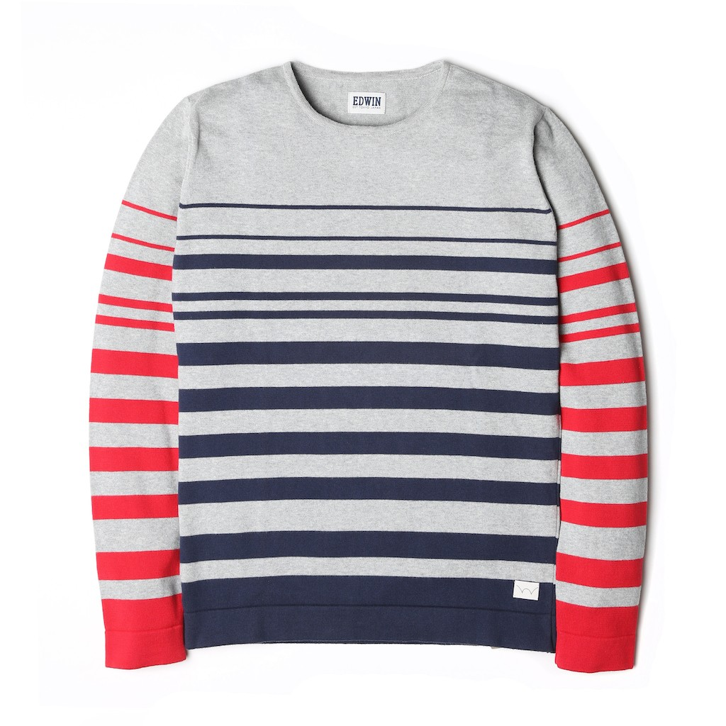 Edwin-Fine-Sweater-Red-Navy-Stripes