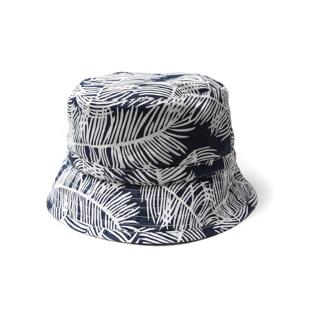 Edwin-Leaf-Bucket-Cap-Navy-palm-allover