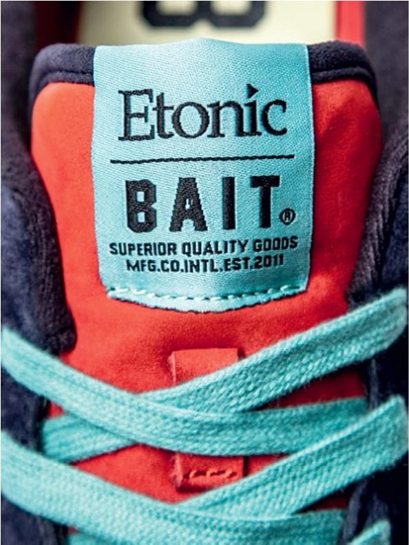 Bait x Etonic flat white close up
