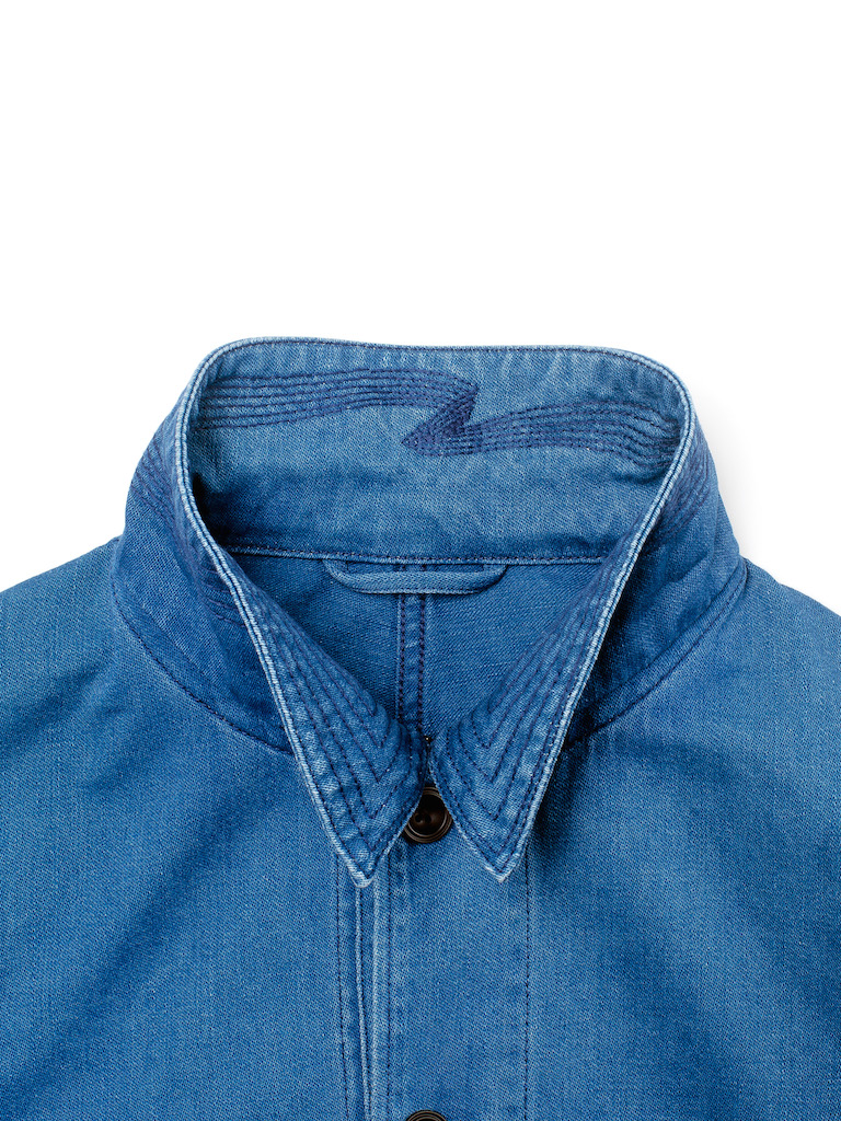 Julius Organic Normal Collar Indigo 160373B21 detail 03
