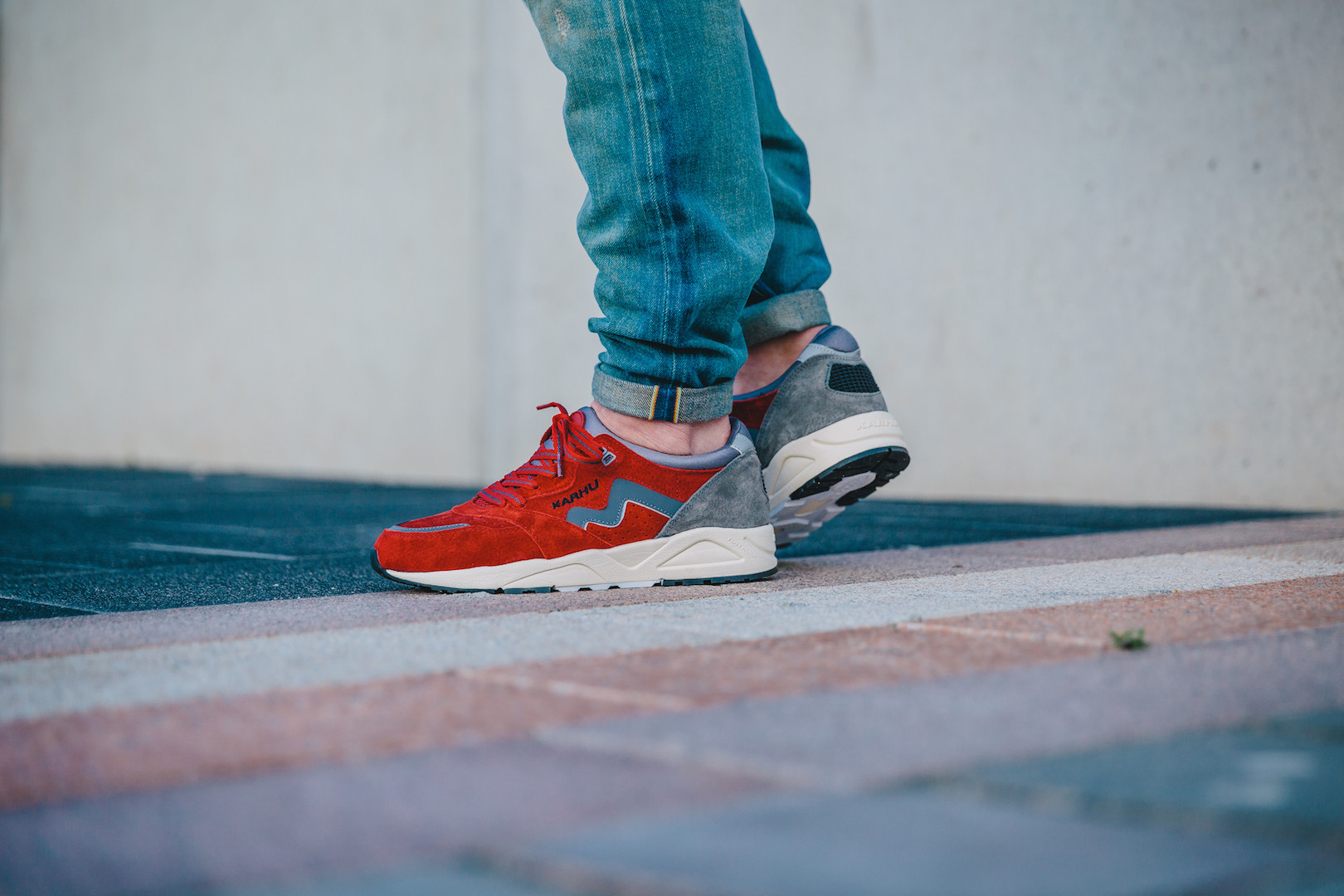 Karhu Aria Grey:Burgundy On Feet