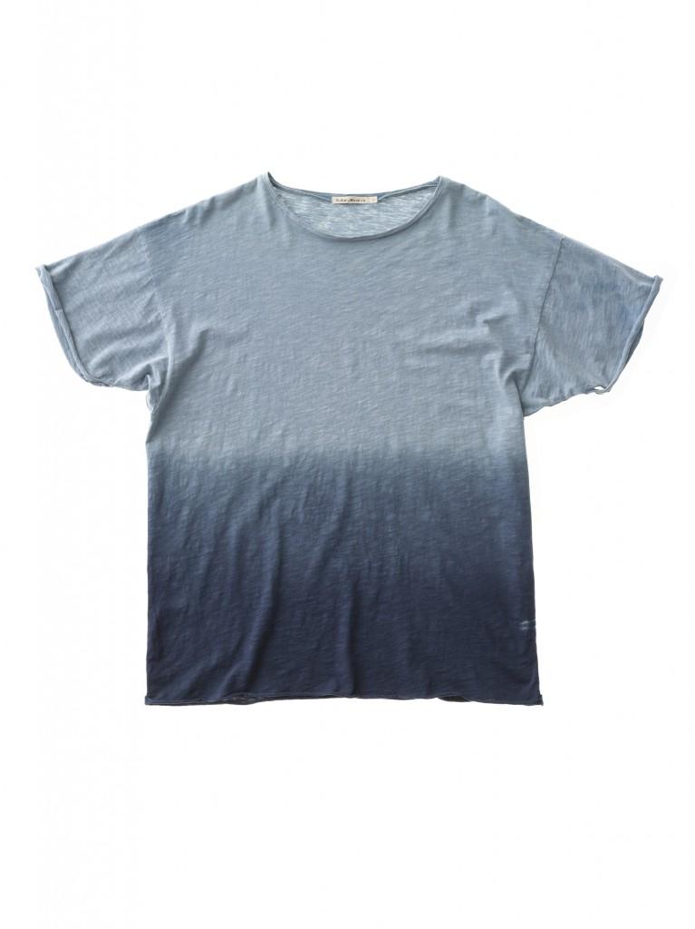 Raw Hem T-shirt Dip Dyed Blue 131419B20