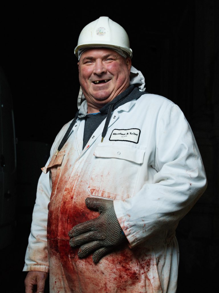 2am Grant Garrett, Meat Packer, Smithfield Meat Market Photographed as part of the 24 hour photo story 'The Longest Day - A Portrait of East London' by Tom Oldham on 20th June 2016 Tom shot one portrait every hour from midnight to midnight on the longest day, shooting a huge cross section of the inhabitants of East London